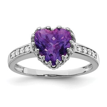 Sterling Silver Rhodium-plated Polished Heart Amethyst & CZ Ring
