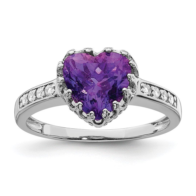 Quality Gold Sterling Silver Rhodium-plated Polished Heart Amethyst & CZ Ring