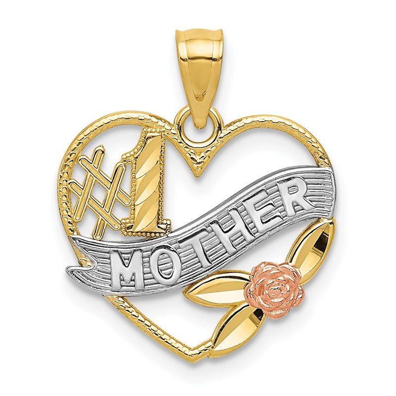 Quality Gold 14k Yellow and Rose w/Rhodium D/C #1 Mother Heart w/Rose Pendant