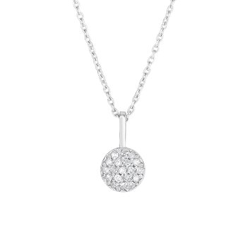 14K Gold .10ct Diamond Pave Circle Necklace
