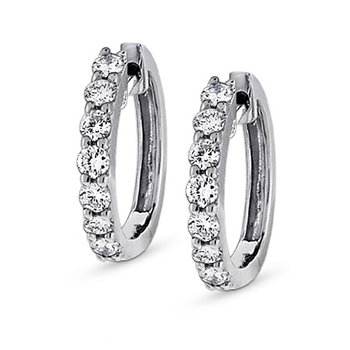 Diamond Mini Hoop Earrings in 14k White Gold with 14 Diamonds weighing .45ct tw.