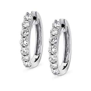 KC Designs Diamond Mini Hoop Earrings in 14k White Gold with 14 Diamonds weighing .45ct tw.