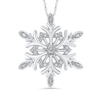 Sterling Silver .04 ct Round Diamond Snowflake Pendant with Chain