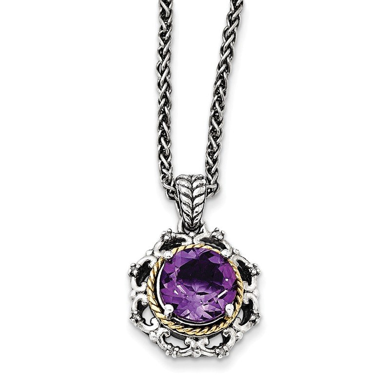 Shey Couture Sterling Silver w/14k Antiqued Amethyst and Diamond Necklace
