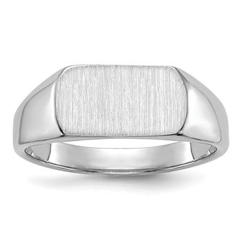 14k White Gold 10mmx6mm Open Back Signet Ring