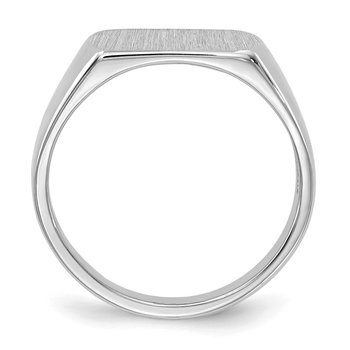 14k White Gold Signet Ring 10mmx6mm Open Back