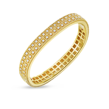 #27679 Of 18Kt Gold 2 Row Bangle With Diamonds