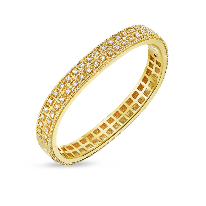 Roberto Coin 18KT GOLD 2 ROW BANGLE WITH DIAMONDS