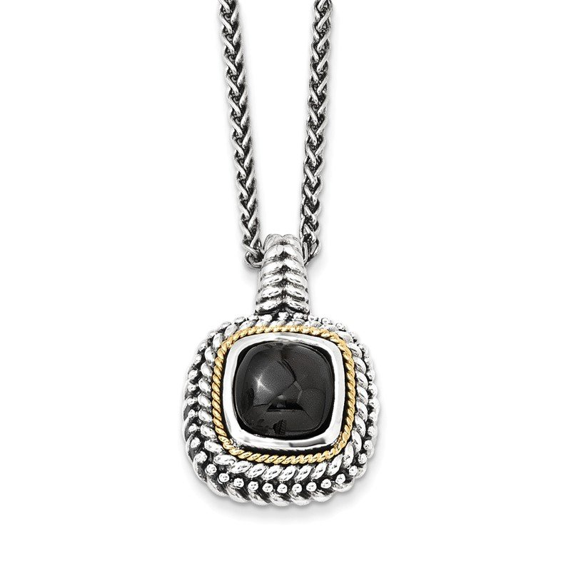Shey Couture Sterling Silver w/14k Antiqued Cabochon Onyx Necklace