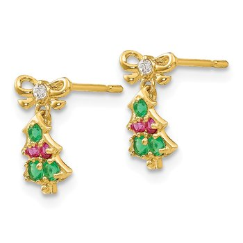 14k Madi K CZ Children's Christmas Tree Dangle Post Earrings