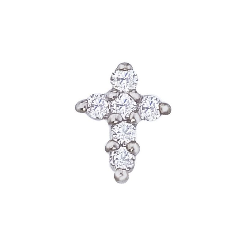 Roberto Coin Baby Cross Pendant With Diamonds &Ndash; 18K White Gold