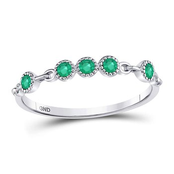 10kt White Gold Womens Round Emerald Dot Stackable Band Ring 1/20 Cttw