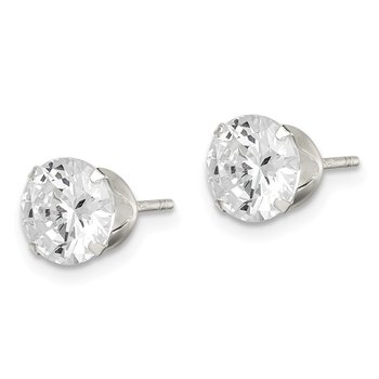 Sterling Silver CZ 7mm Post Earrings