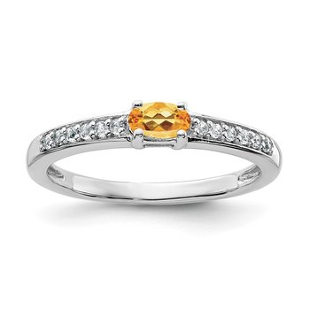 Sterling Silver Rhodium-plated Citrine and White Topaz Ring