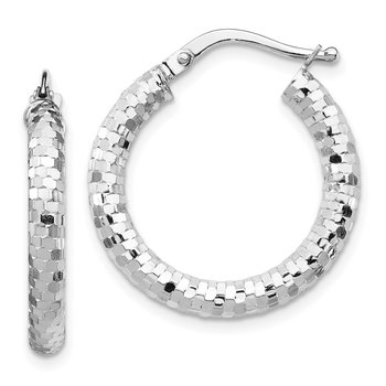 14k White Gold 3x15mm Diamond-cut Hoop Earrings
