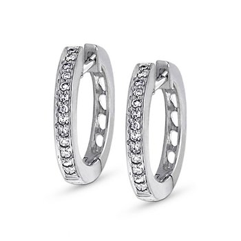 Diamond Mini Hoop Earrings in 14k White Gold with 26 Diamonds weighing .16ct tw.