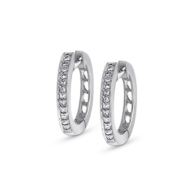 MAZZARESE Fashion Diamond Mini Hoop Earrings in 14k White Gold with 26 Diamonds weighing .16ct tw.