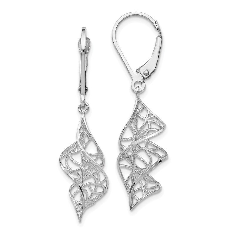 Leslie's Leslie's 14K White Gold Textured Leverback Earrings