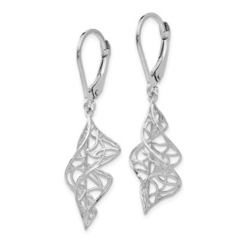 Leslie's 14K White Gold Textured Leverback Earrings