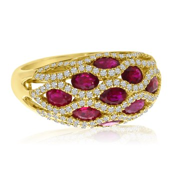 14K Yellow Gold Basket Weave Ruby and Diamond Ring