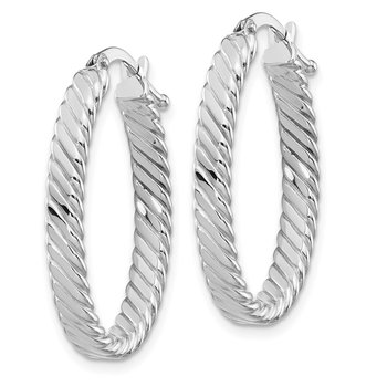 14K White Gold Large 3mm Patterned Oval Hoop Earrings