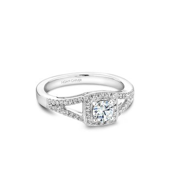 Square Shaped Halo Engagement Ring