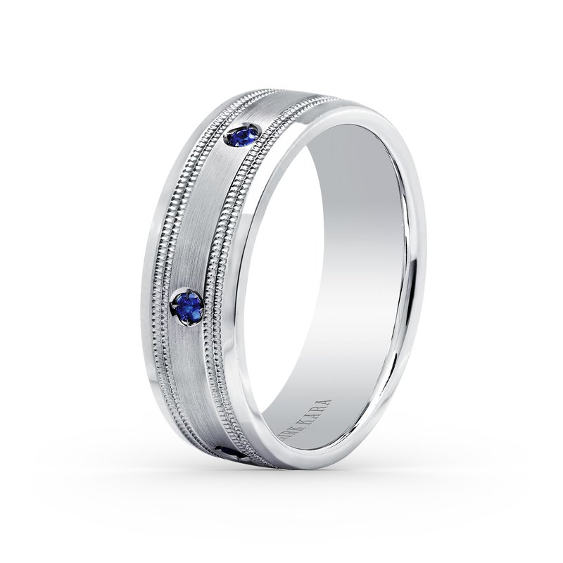 Natural Sapphire Mens Wedding Band 7mm