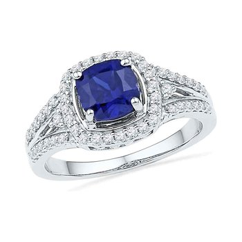 10kt White Gold Womens Lab-Created Blue Sapphire Solitaire Ring 2.00 Cttw