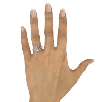 Cushion Shaped Diamond Halo Engagement Ring With Baguettes