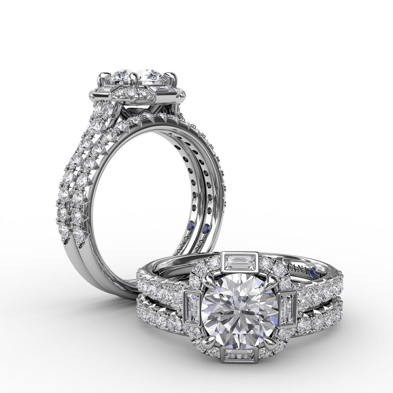 Fana Cushion Shaped Diamond Halo Engagement Ring With Baguettes