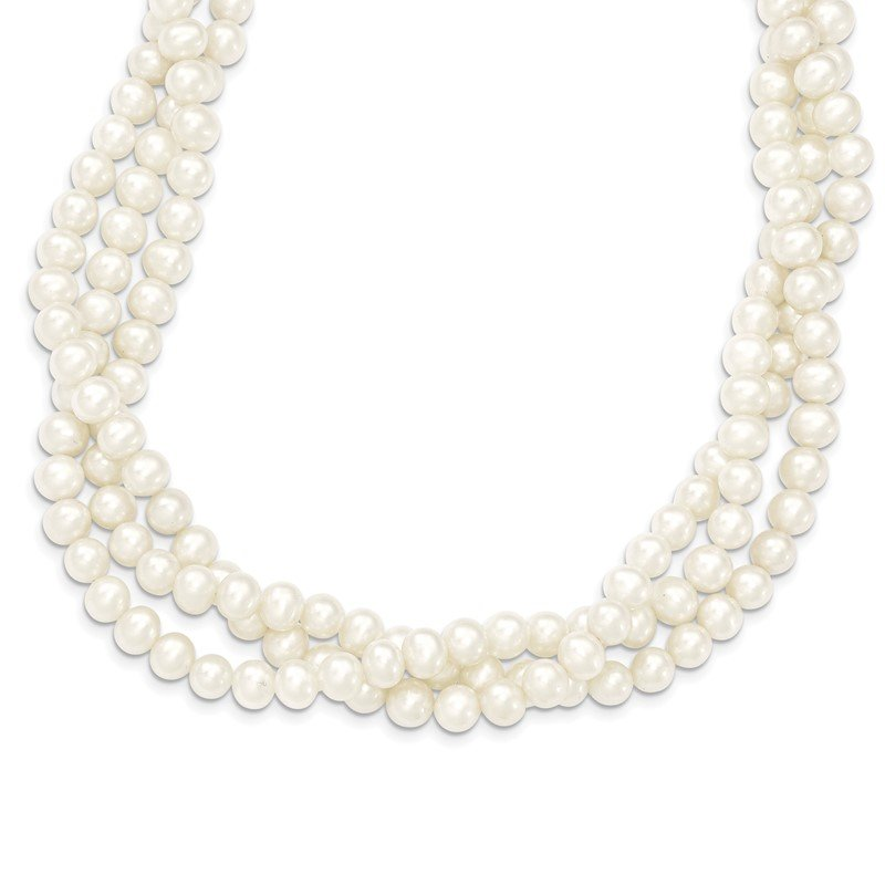 Quality Gold 14k 6-7mm White Near Round FW Cultured Pearl 3-Strand Necklace