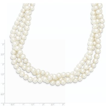 14k 6-7mm White Near Round FW Cultured Pearl 3-Strand Necklace