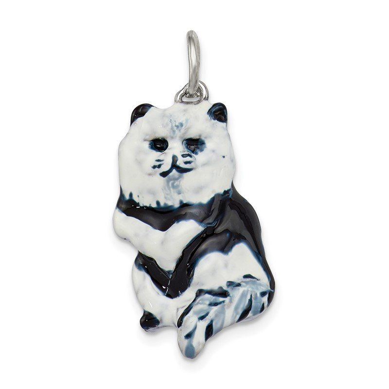 Quality Gold Sterling Silver Enameled Black & White Cat Charm
