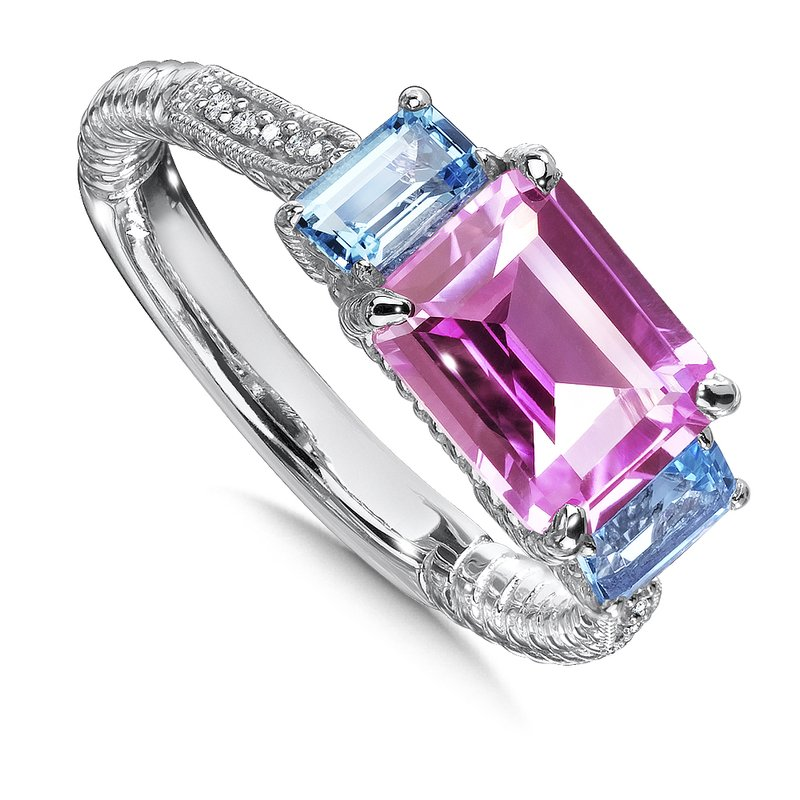Colore Sg Sterling Silver, created pink sapphire and blue topaz  diamond ring