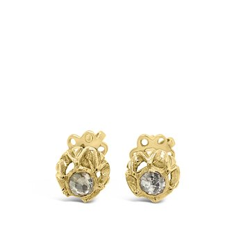 18K Yellow Gold Rose Cut Diamond Earrings