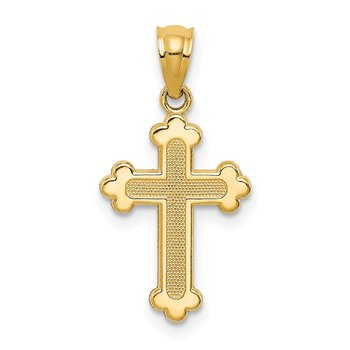 14k Gold Polished Small Budded Cross