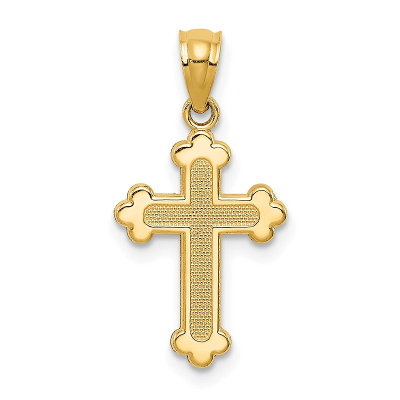 Quality Gold 14k Gold Polished Small Budded Cross