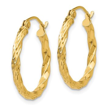 14K Twist Hollow Hoop Earrings