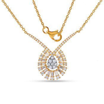 14K beautiful round & bag Diamond necklace 0.78C