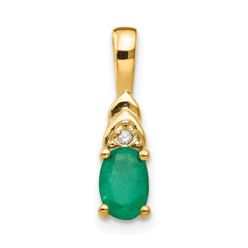 Quality Gold 14k Emerald and Diamond Pendant