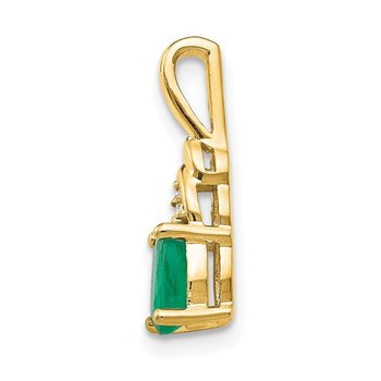14k Emerald and Diamond Pendant