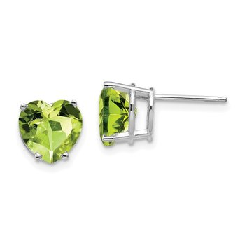 14k White Gold 8mm Heart Peridot earring
