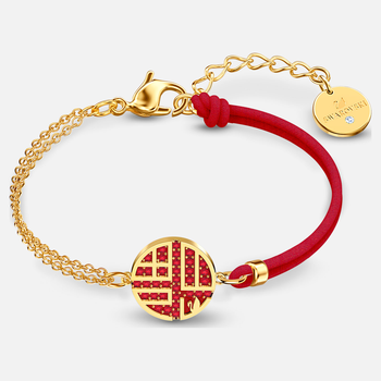 Full Blessing Fu Bracelet, Red, Gold-tone plated