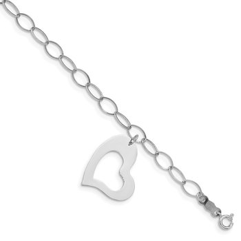 14k White Gold Polished Dangle Heart Bracelet