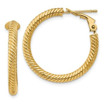 14k 3x20mm Twisted Round Omega Back Hoop Earrings