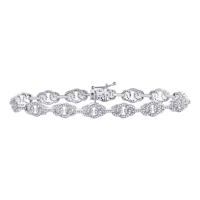 Gold-N-Diamonds, Inc. (Atlanta) 10kt White Gold Mens Round Diamond Link Fashion Bracelet 1.00 Cttw