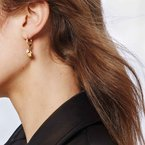 JOHN HARDY Dot Drop Earring in Hammered 18K Gold with Diamonds