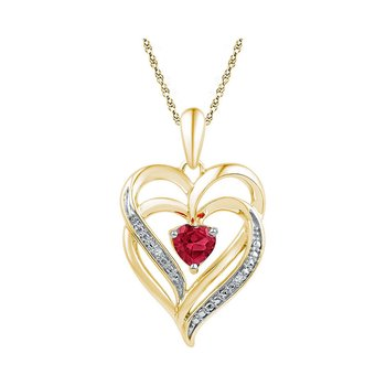 Yellow-tone Sterling Silver Womens Round Lab-Created Ruby Heart Love Pendant .01 Cttw