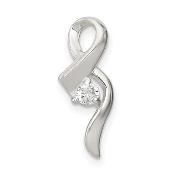 Sterling Silver CZ Ribbon Pendant
