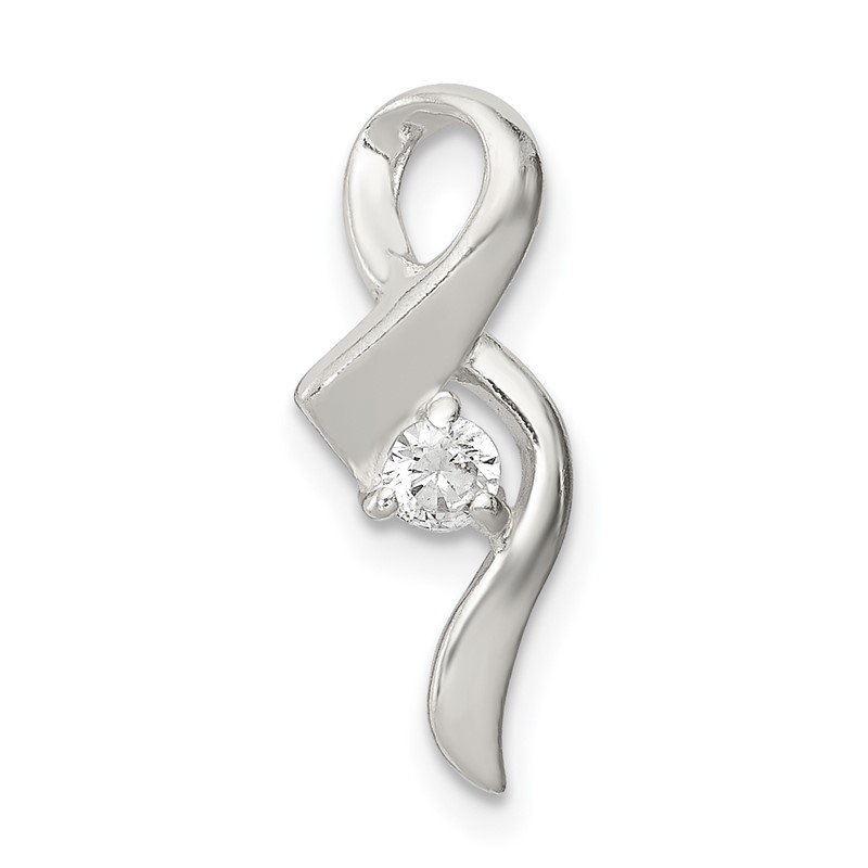 Quality Gold Sterling Silver CZ Ribbon Pendant